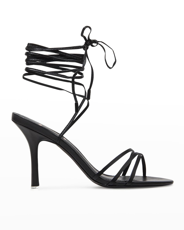 Leandra Metallic Ankle-Tie Sandals