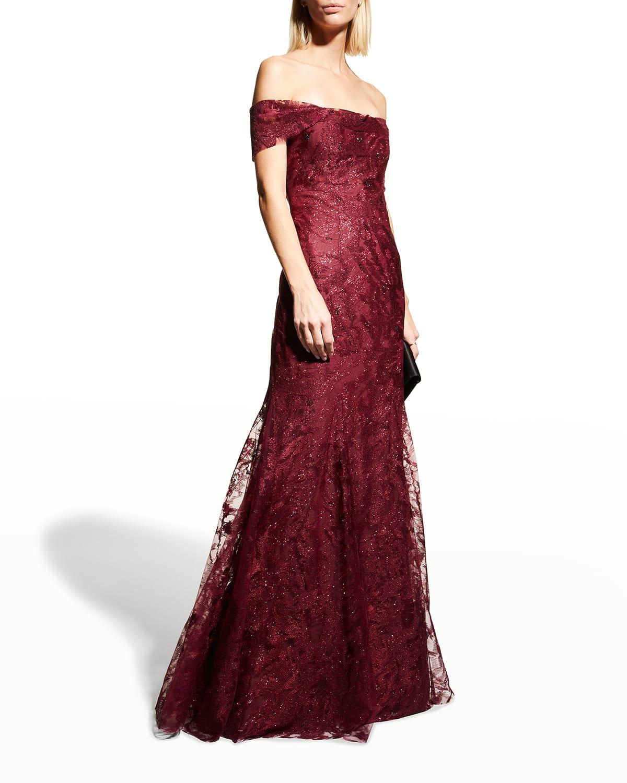RENE RUIZ Off-the-Shoulder Shimmer Gown