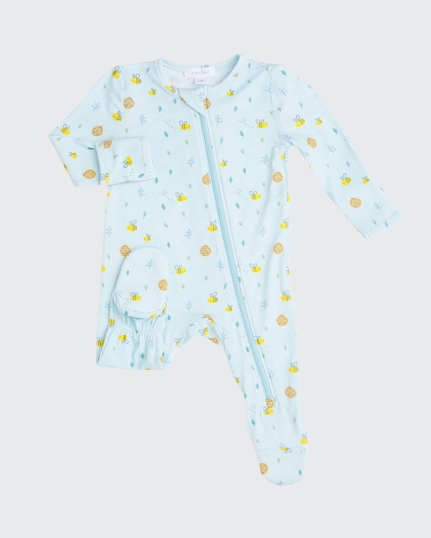 Boy's Little Bee Printed Zip-Up Footie Pajamas