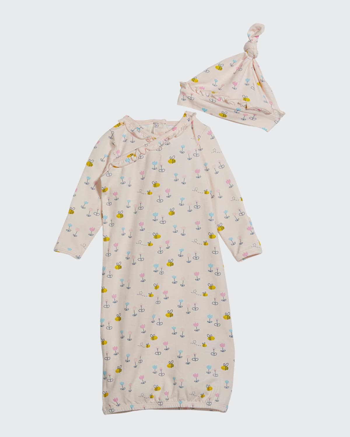 Little Bee Ruffle Gown & Knotted Baby Hat Set