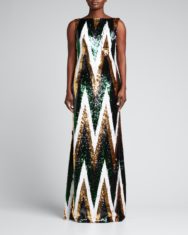 Chevron Sequin Column Gown