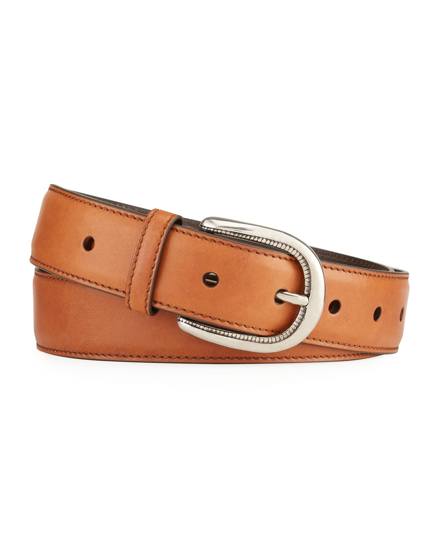 Men's Horseshoe-Buckle Leather Belt
