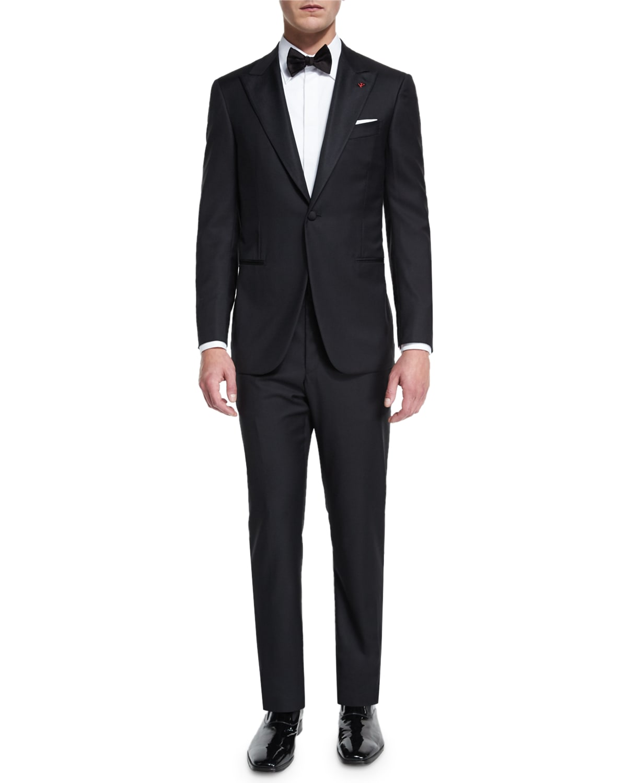 Satin Peak-Lapel One-Button Wool Tuxedo