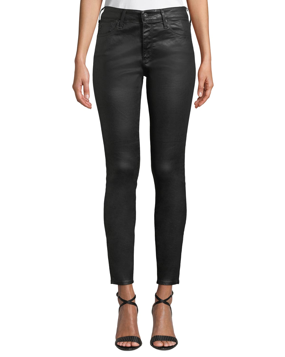 Farrah Leatherette High-Rise Ankle Skinny Jeans