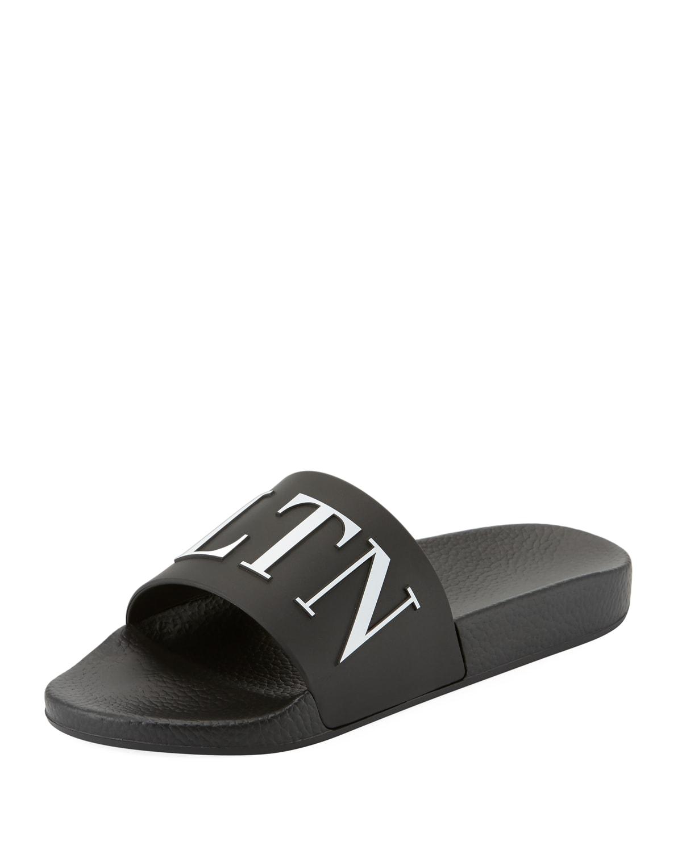 VLTN Men's Logo-Embossed Pool Slide Sandals