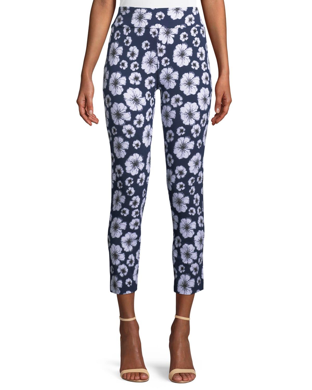Petite Floral-Print Slim Pants