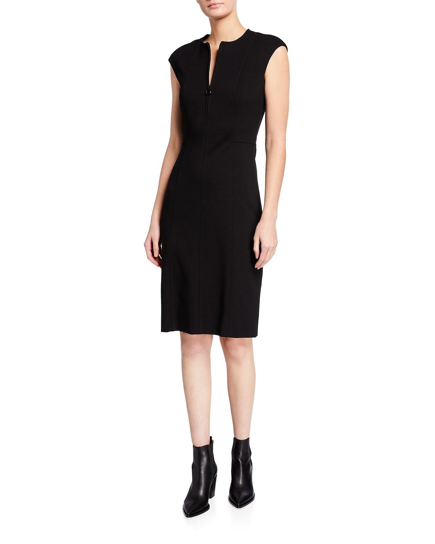 Cap-Sleeve Zip-Front Seamed Dress