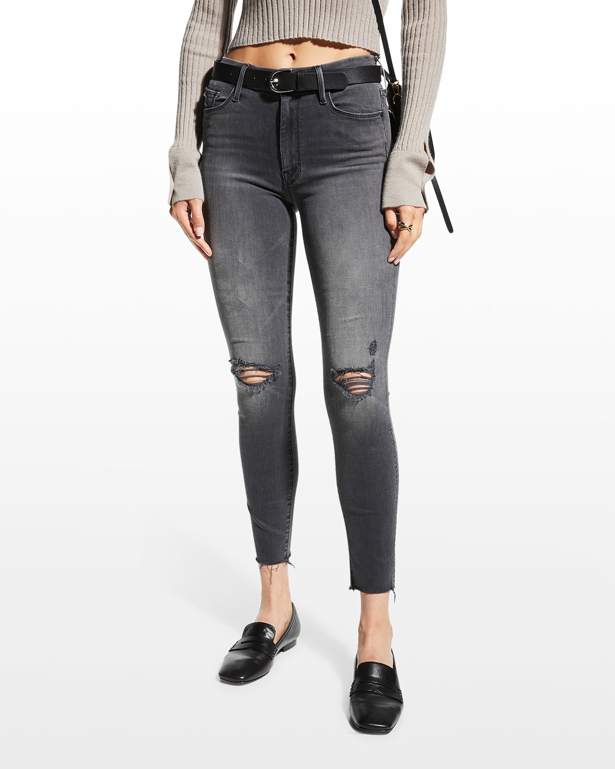 Looker Ankle Fray Distressed Jeans