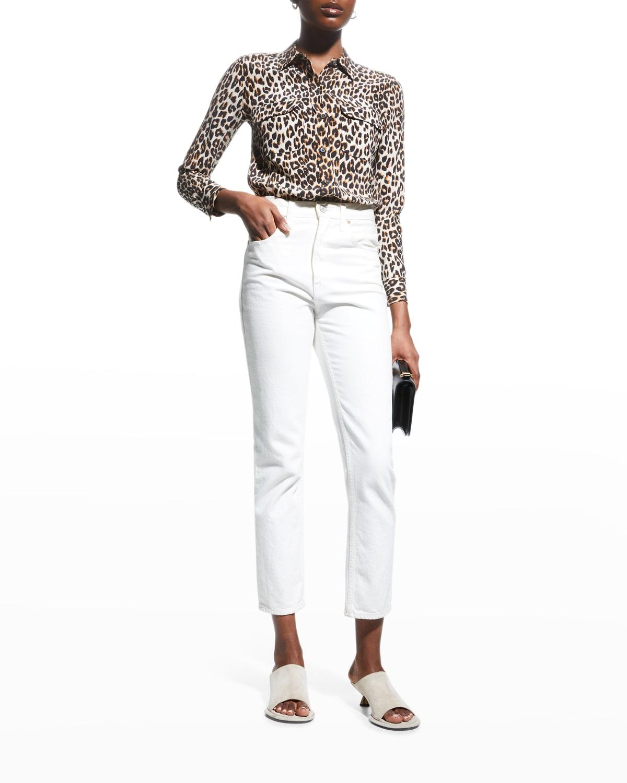 Slim Signature Leopard-Print Blouse