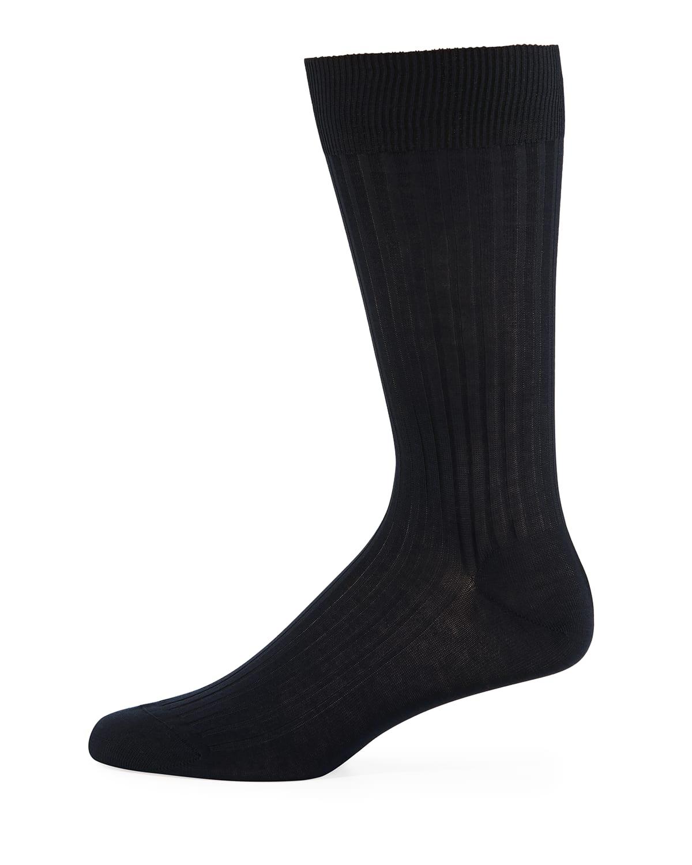 Mid-Calf Stretch-Lisle Dress Socks
