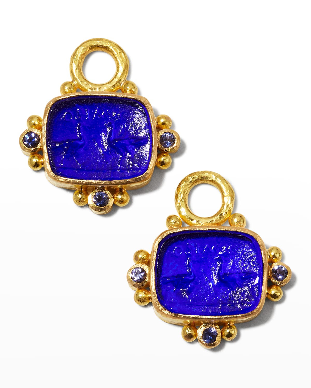 Two Cranes Intaglio 19k Gold Earring Pendants