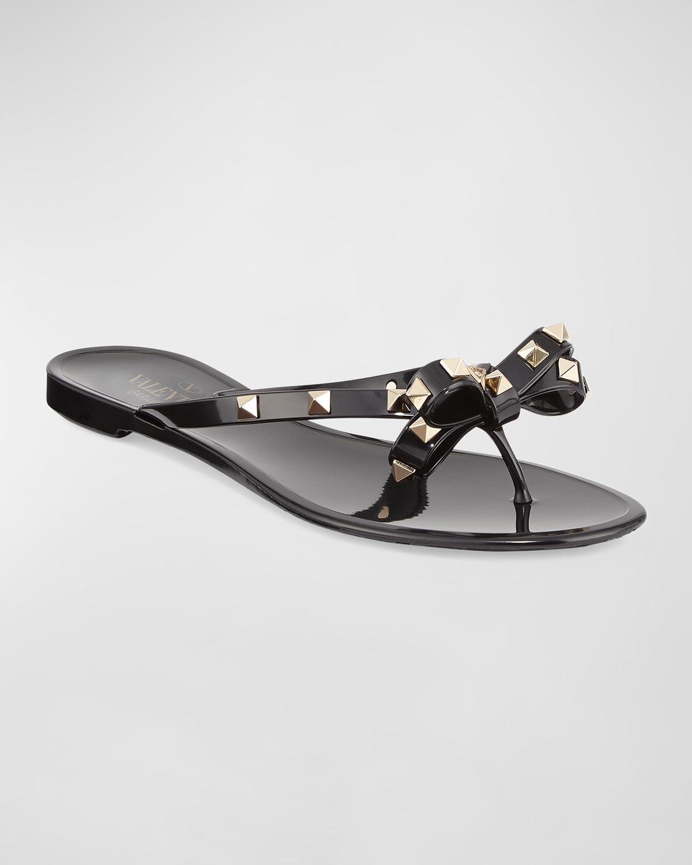 Rockstud PVC Flat Thong Sandals