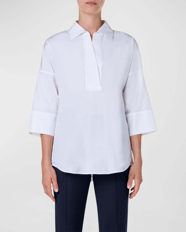 Kimono-Sleeve Split-Neck Blouse