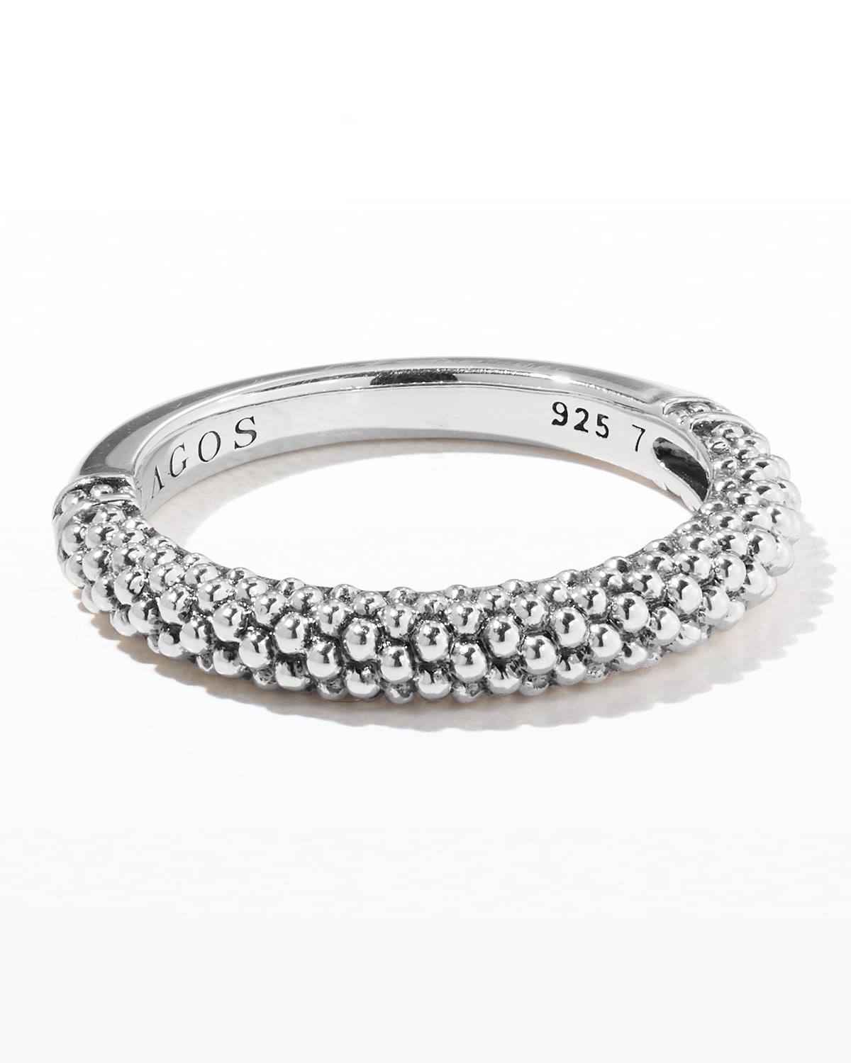 Silver Caviar Stackable Ring