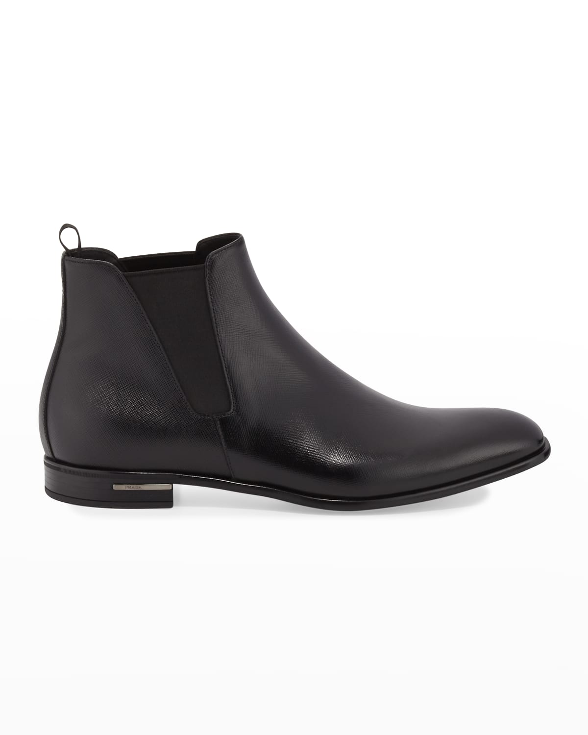 Saffiano Leather Chelsea Boots