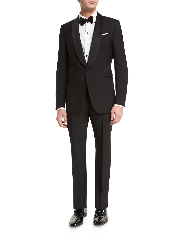 Satin Shawl-Collar Two-Piece Tuxedo Suit