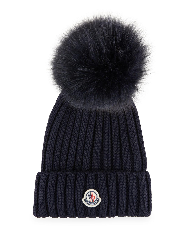 Ribbed-Knit Beanie Hat w/Fur Pompom