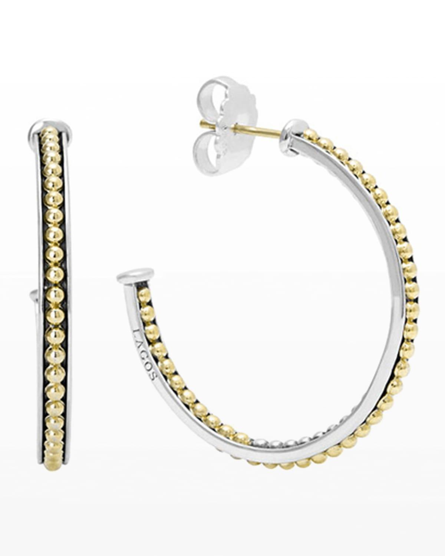 35mm Sterling Silver & 18k Enso Hoop Earrings