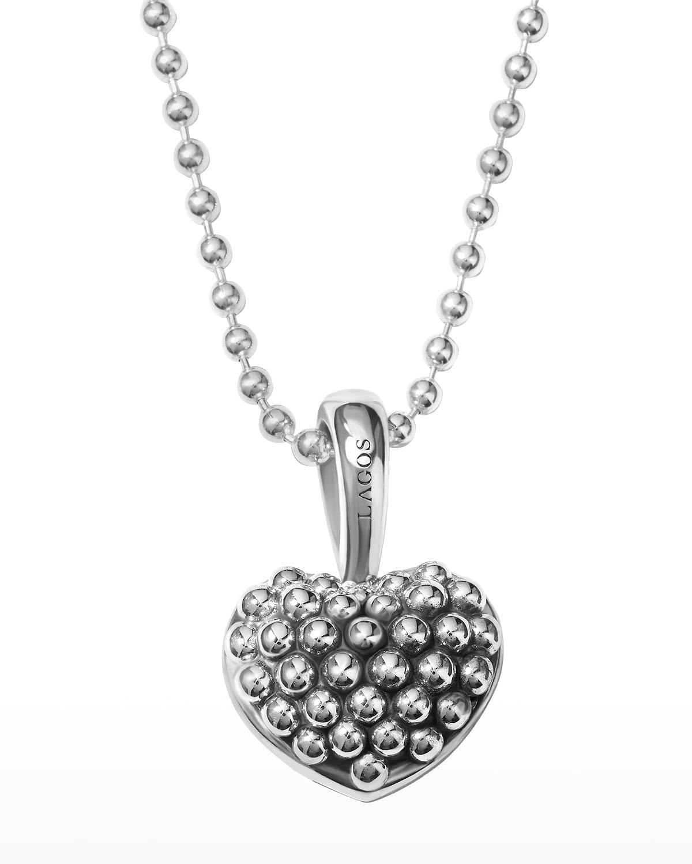 Caviar Beaded Heart Pendant Necklace