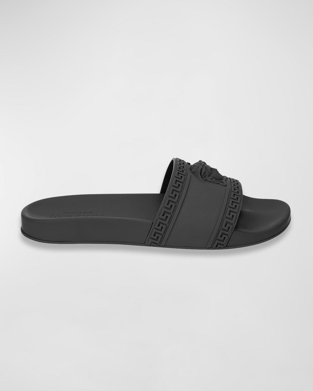 Men's Medusa %26 Greek Key Pool Slide Sandals