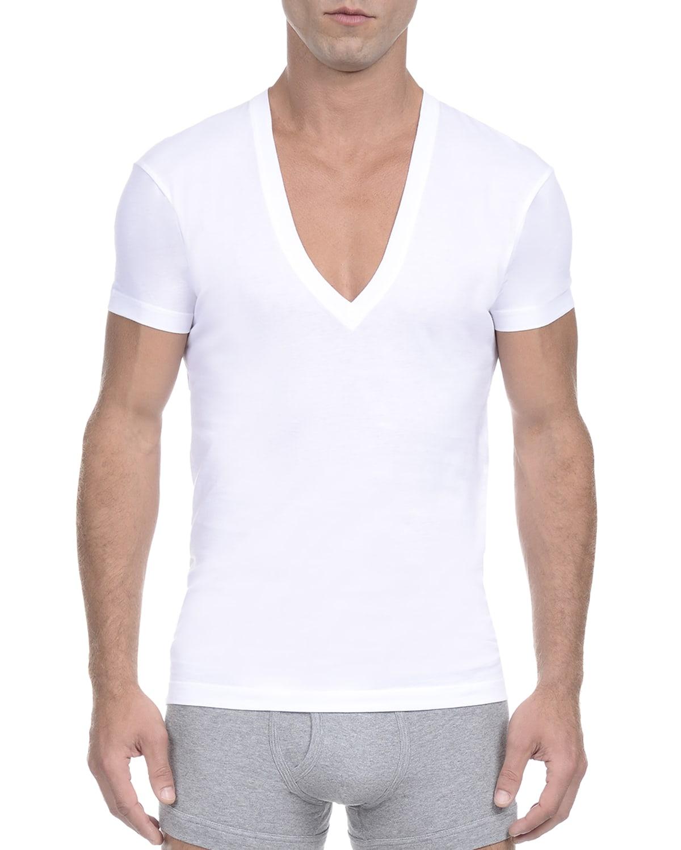 Pima Slim-Fit Deep V-Neck T-Shirt