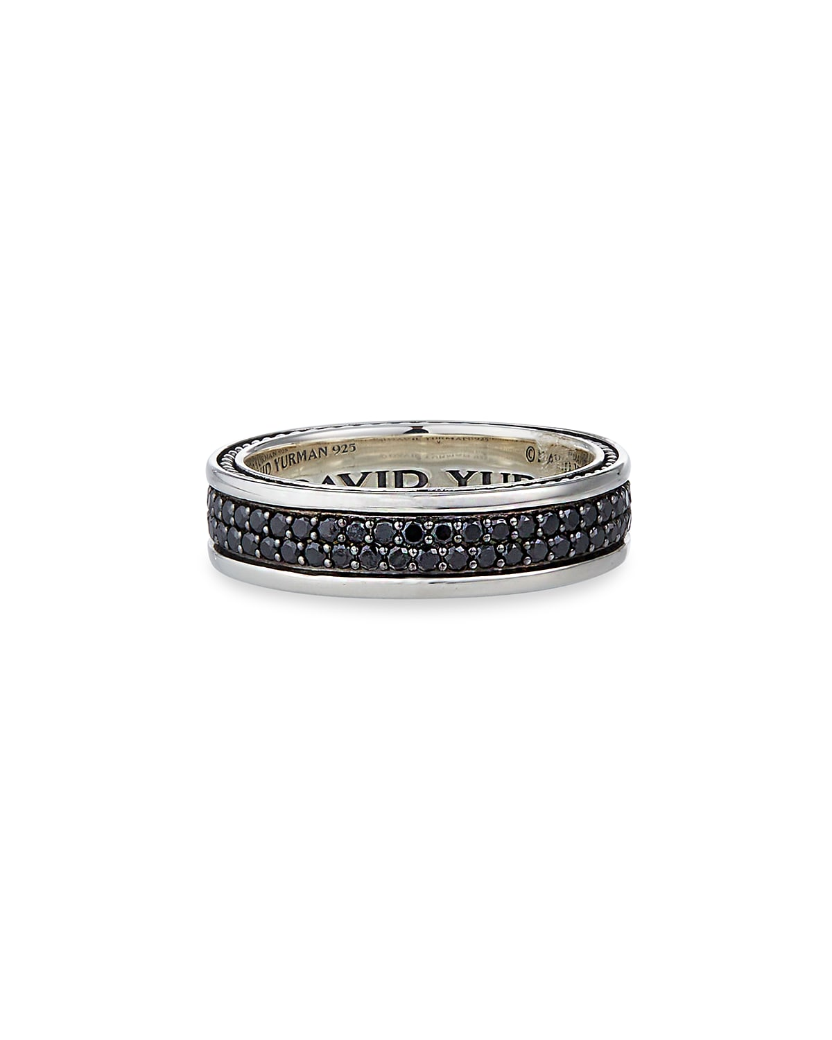Men's Streamline Two-Row Band Ring with Black Diamonds