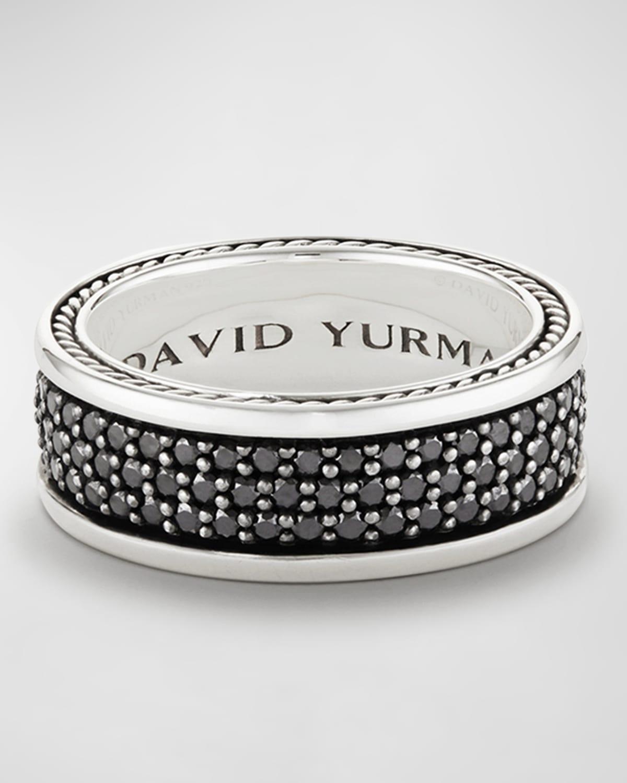 Men's Streamline Three-Row Band Ring with Black Diamonds