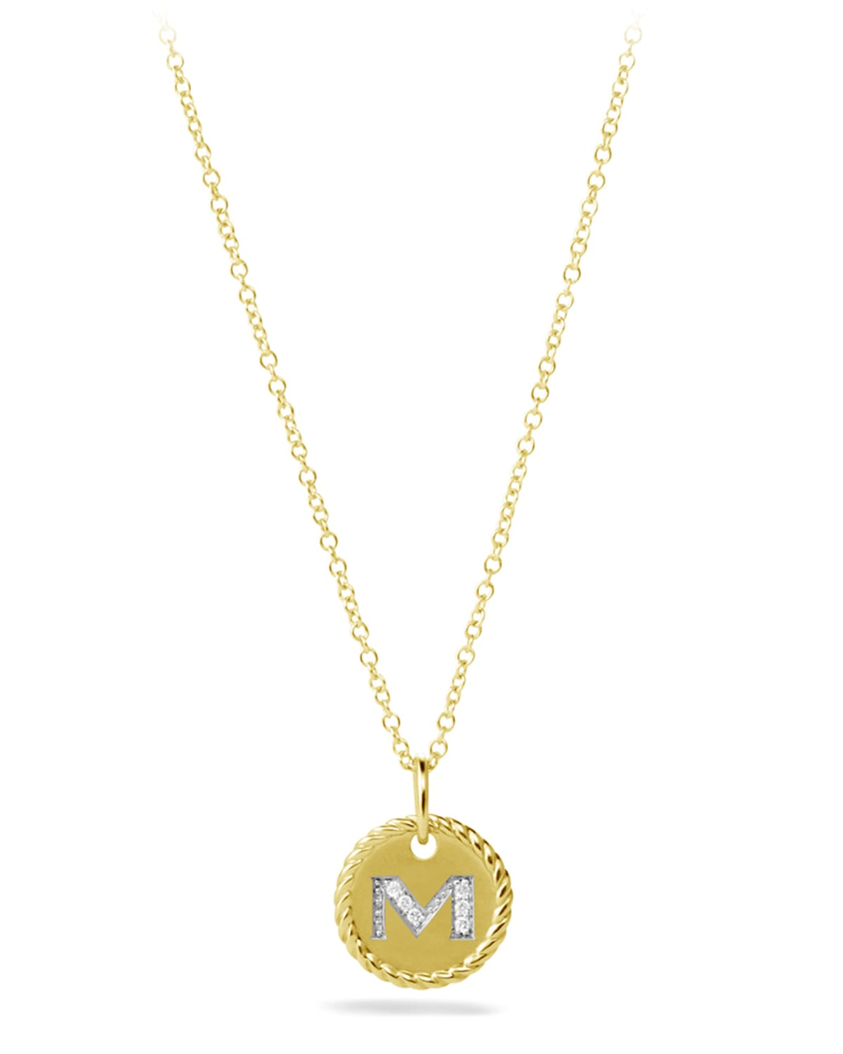 """""""""""M"""" Pendant with Diamonds in Gold on Chain"""""""