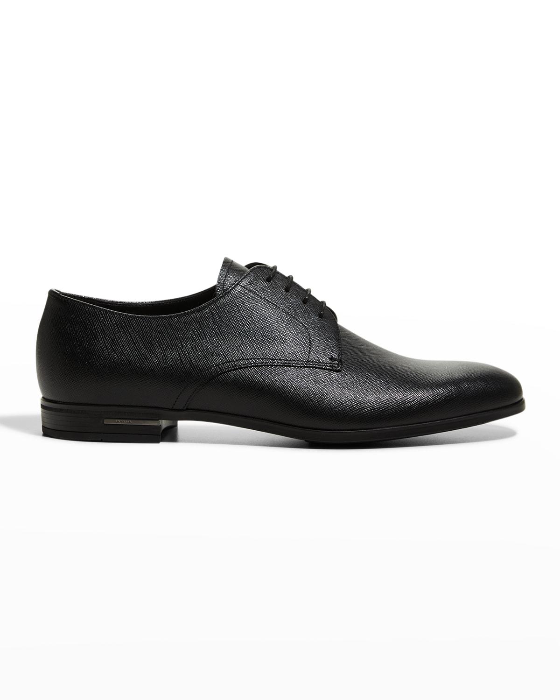 Men's Saffiano Leather Lace-Ups