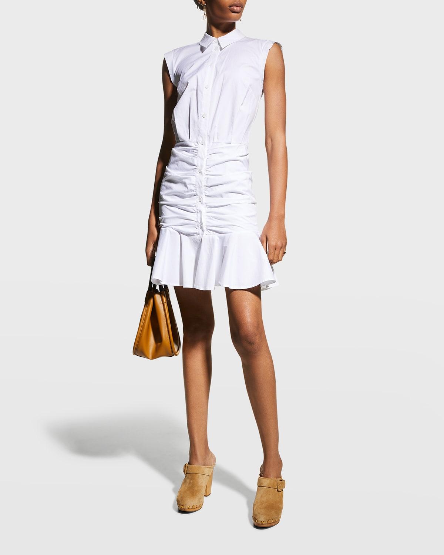 Bell Sleeveless Ruched Stretch Poplin Dress