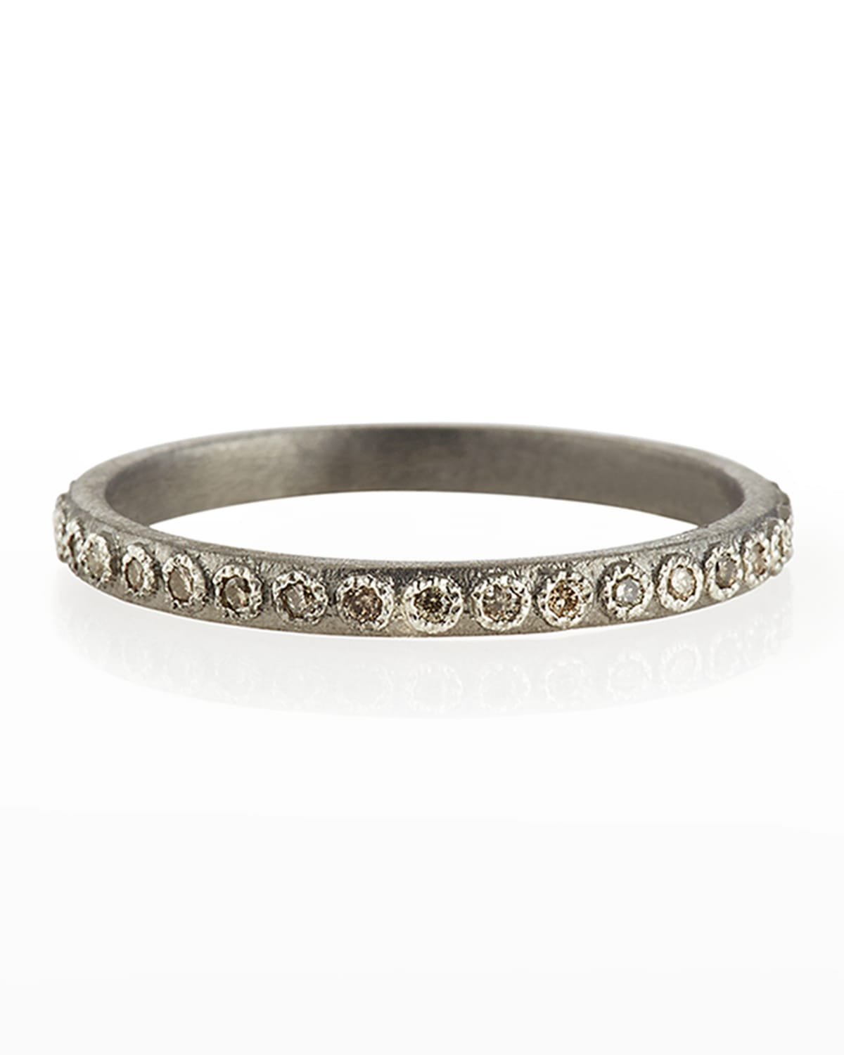 New World Silver Stackable Ring with Champagne Diamonds