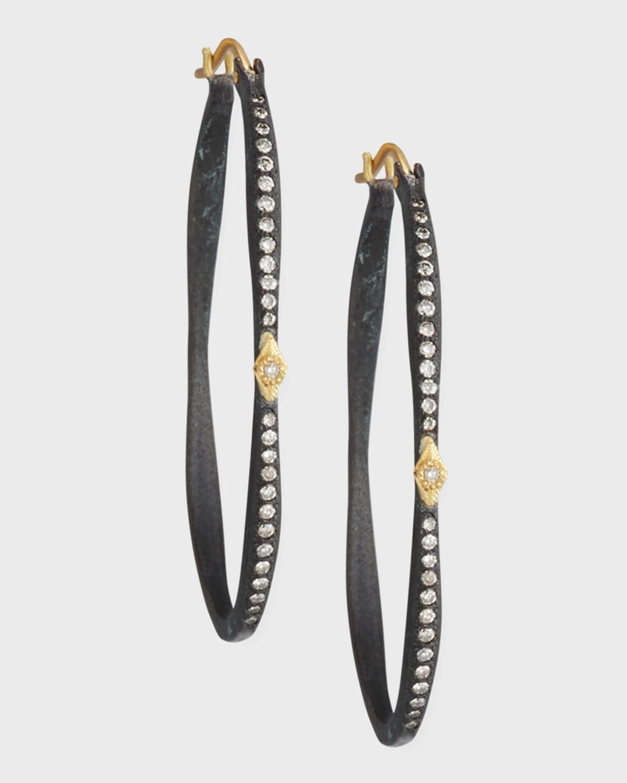 Old World Pave Diamond Side Hoop Earrings