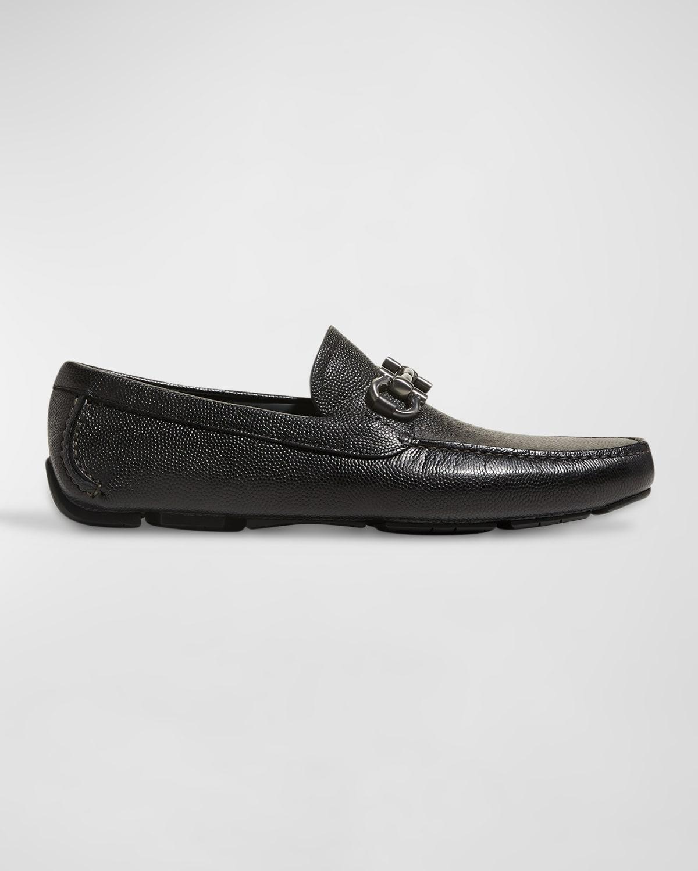 Men's Pebbled Leather Gancini Driver, Black