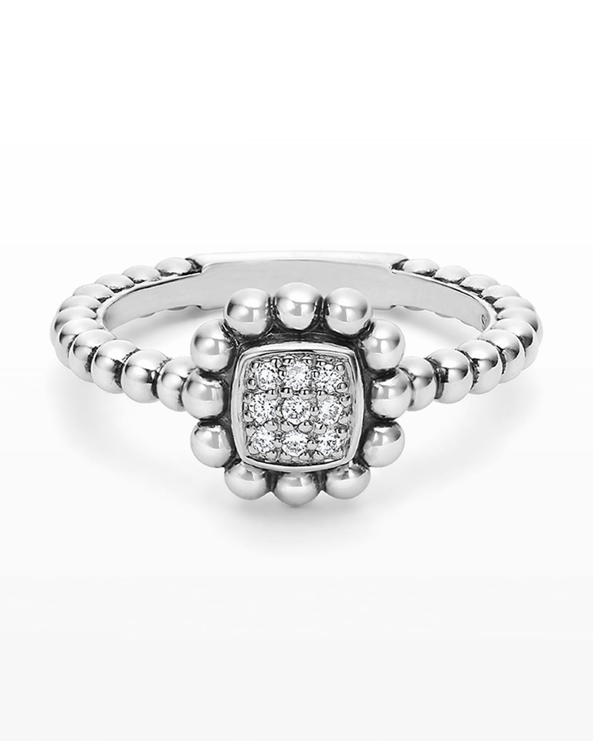 Sterling Silver Caviar Spark Ring with Diamonds