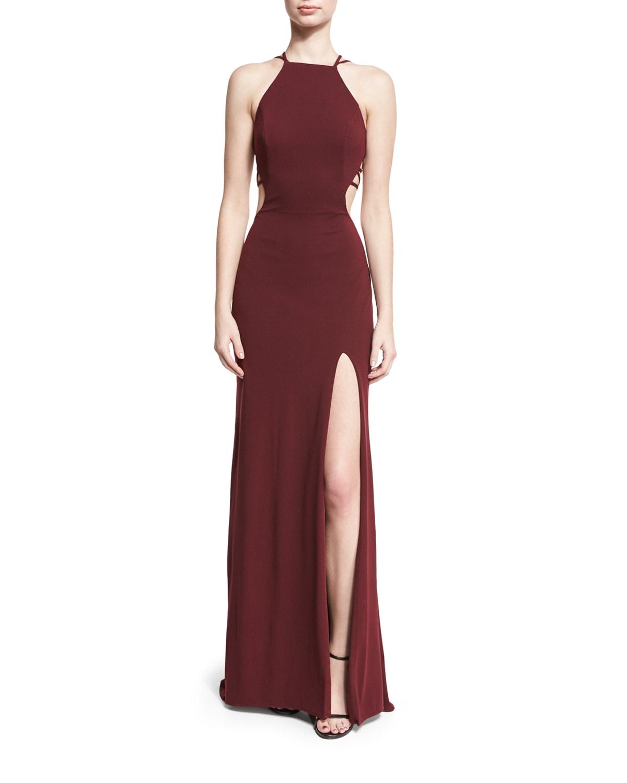 Sleeveless Crepe Lattice Gown