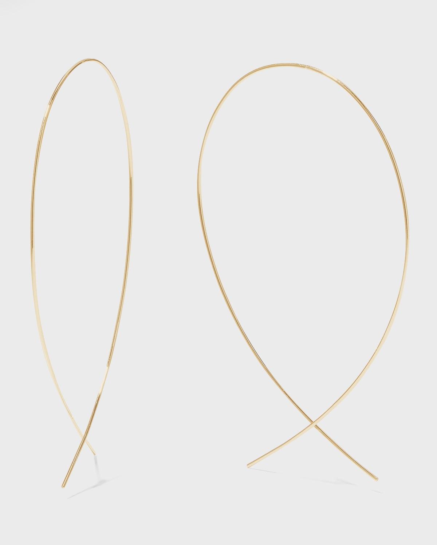 Large Upside Down Hoop Earrings in 14K Gold