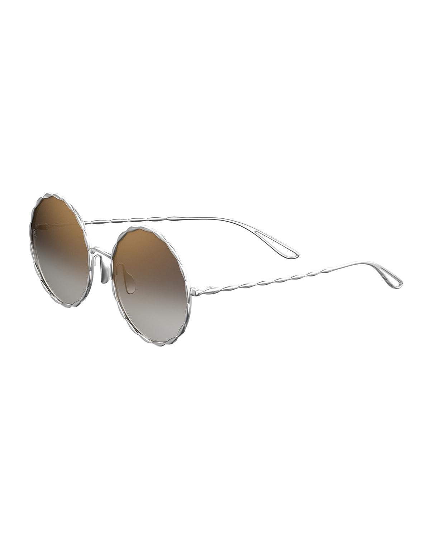 Mirrored Round Gold-Plated Sunglasses