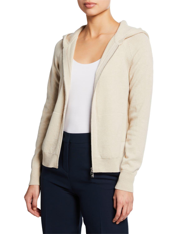 Merano Cashmere Zip-Front Hoodie Sweater