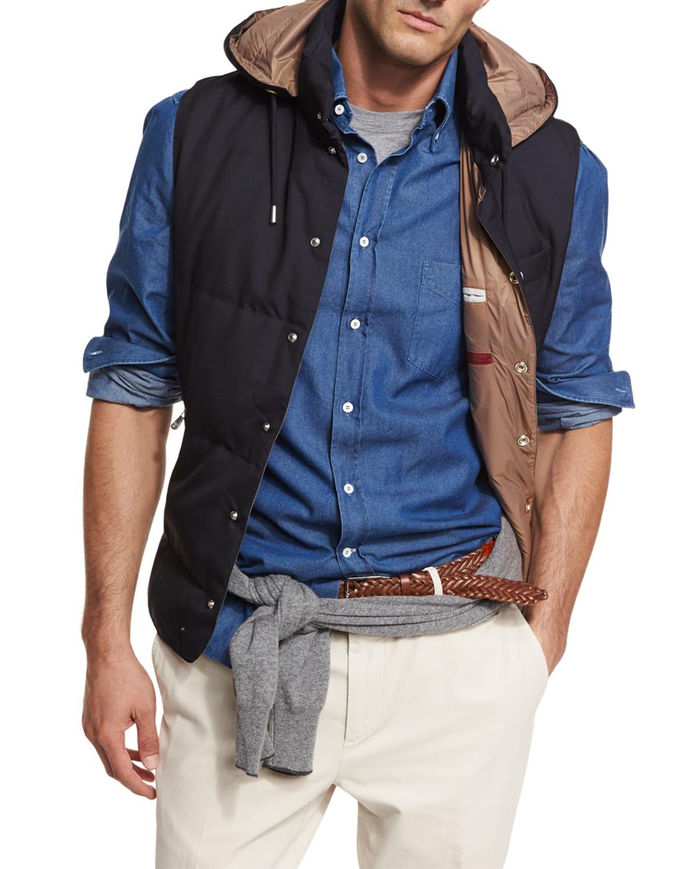 Men's Hooded Microfiber Snap Vest