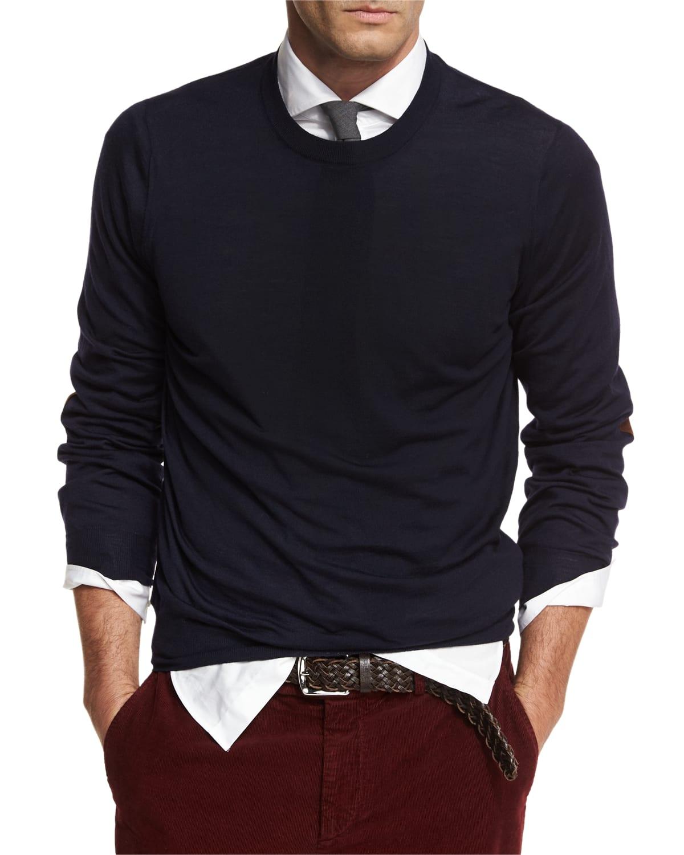 Men's Fine-Gauge Knit Elbow-Patch Sweater