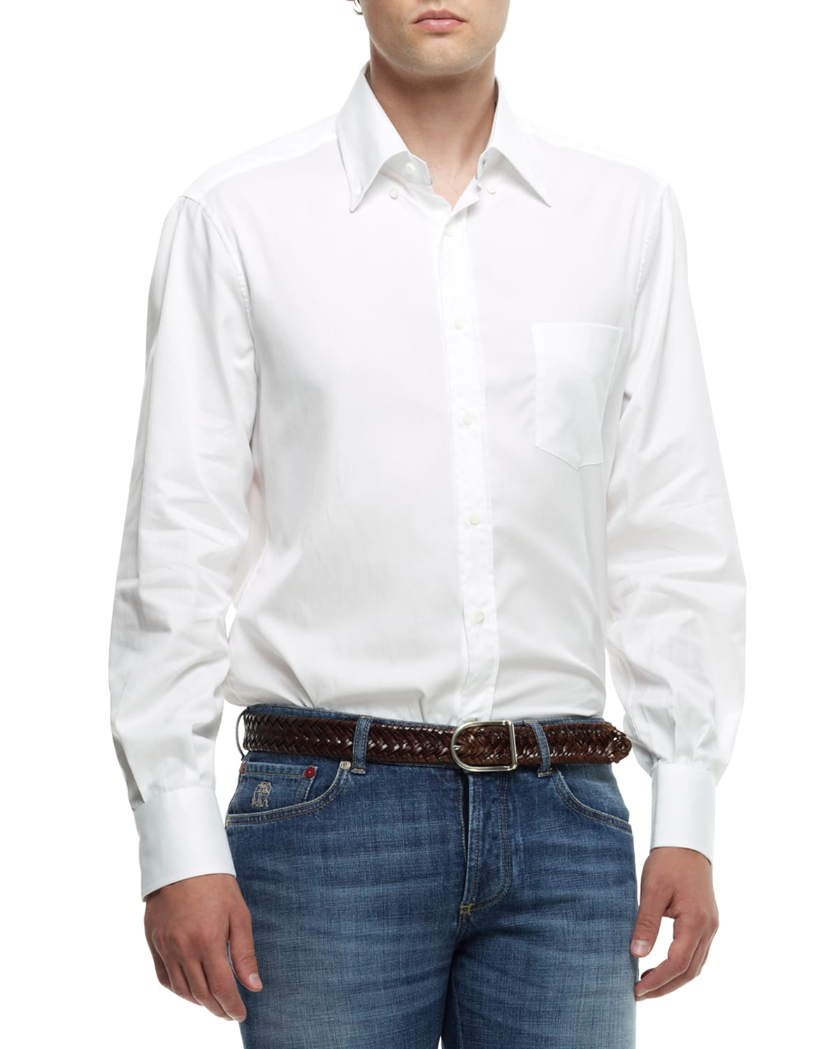 Men's Basic Fit Solid Sport Shirt with Button-Down Collar
