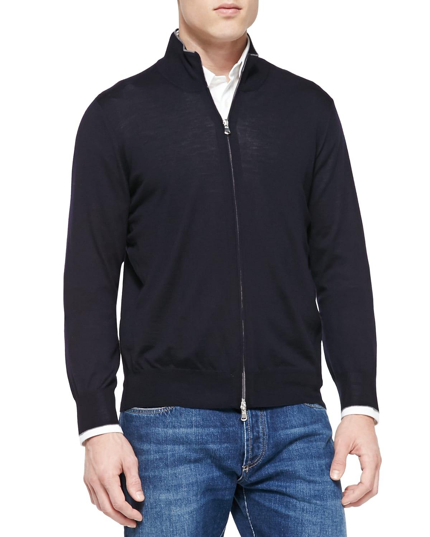 Fine-Gauge Full-Zip Sweater