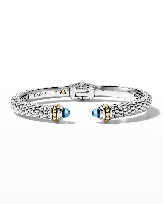 8mm Sterling Silver Caviar Hinge Cuff Bracelet