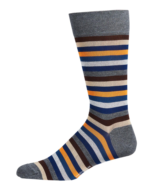 Men's Striped Cotton-Blend Crew Socks