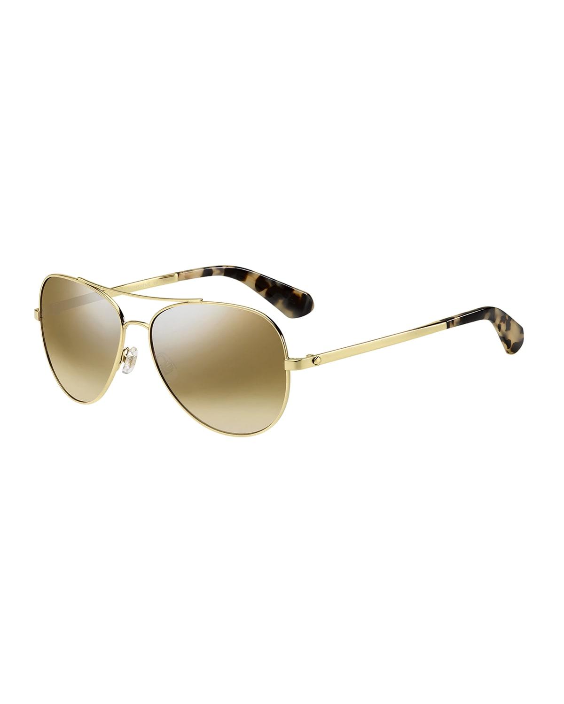 avaline mirrored aviator sunglasses