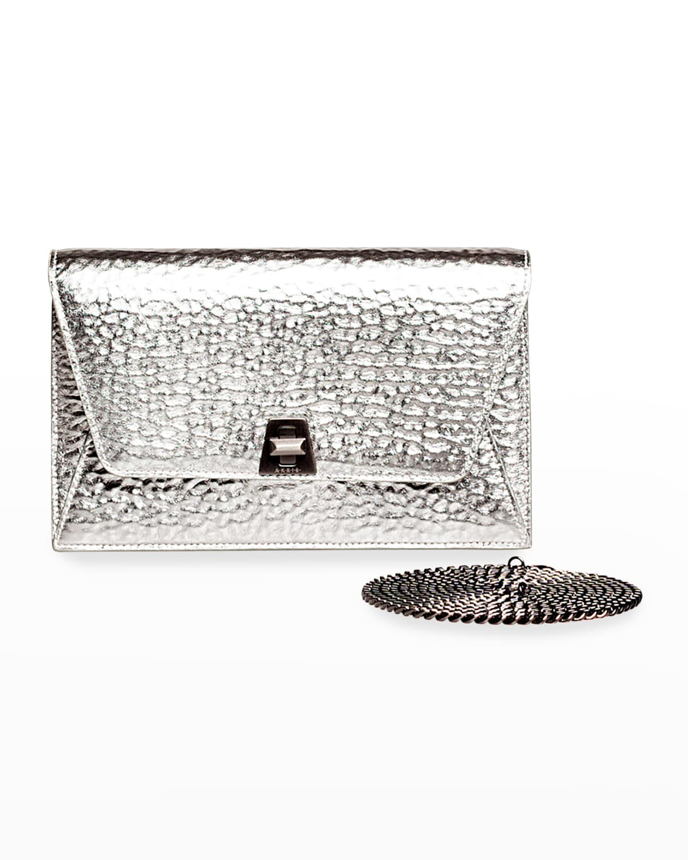 Anouk Hammered Leather Envelope Clutch Bag