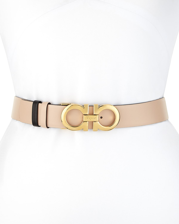 Gancini-Buckle Reversible Leather Belt