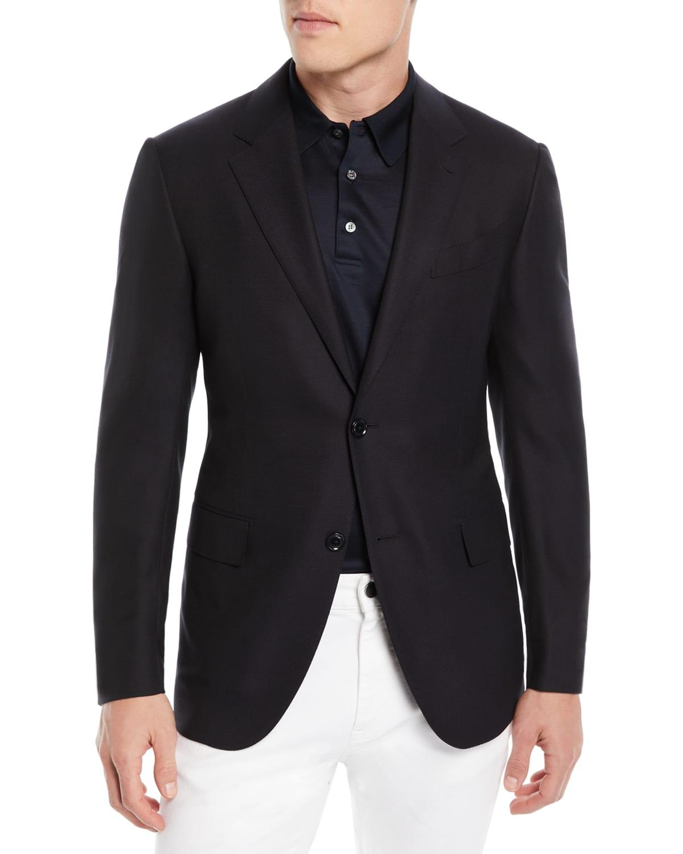 Solid Trofeo Wool Regular-Fit Blazer Jacket