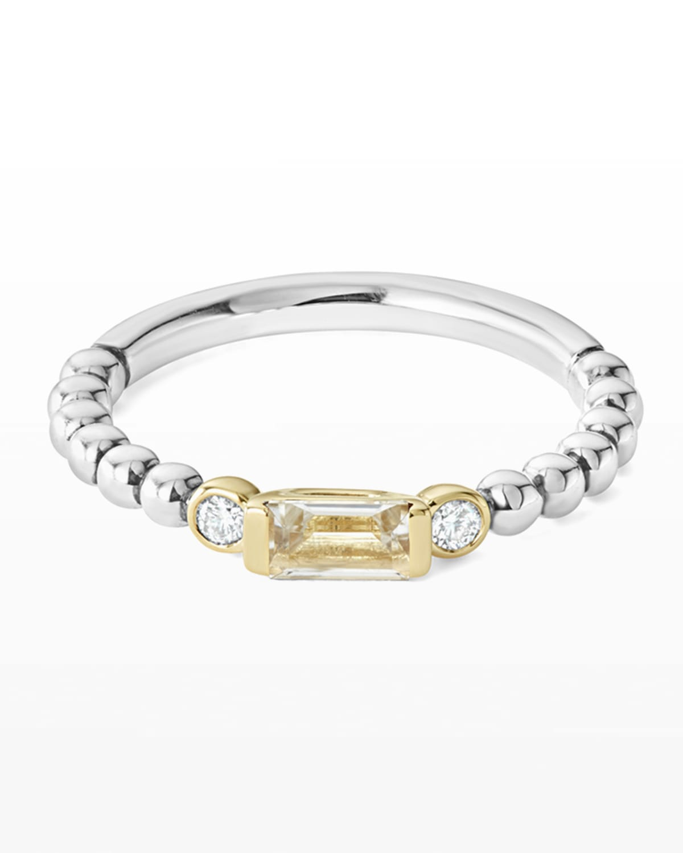 18k Beaded Stacking Band Ring w/ Diamonds