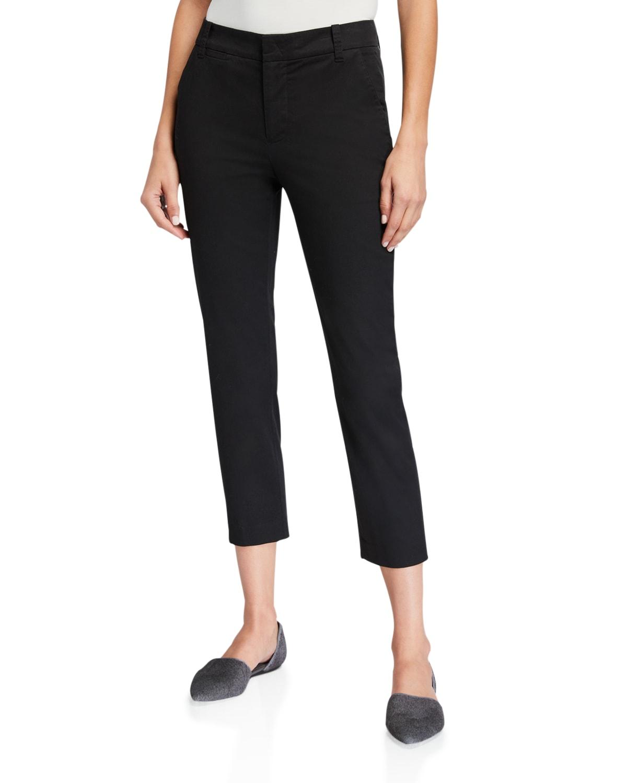 Coin-Pocket Straight-Leg Cropped Chino Pants